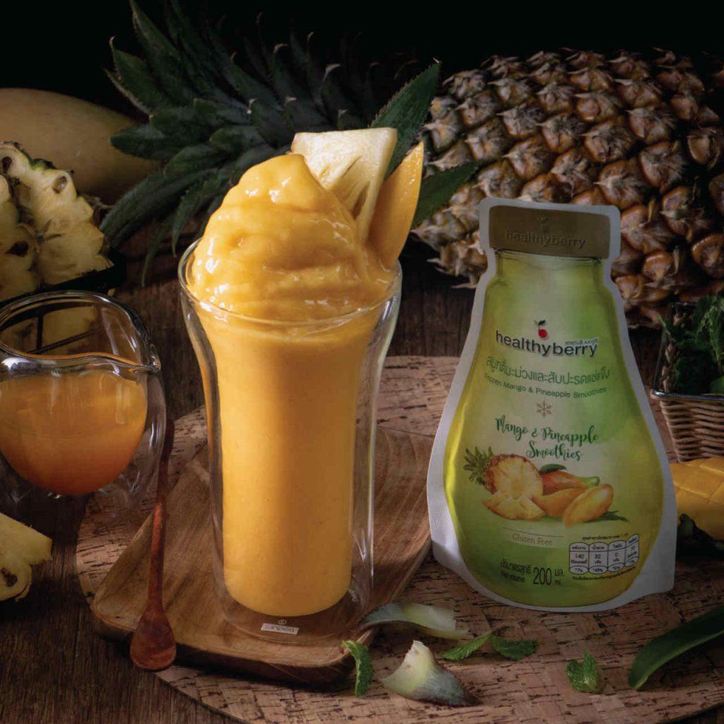 Mango and Pineapple Yogurt Smoothies Frozen Fruit Thailand