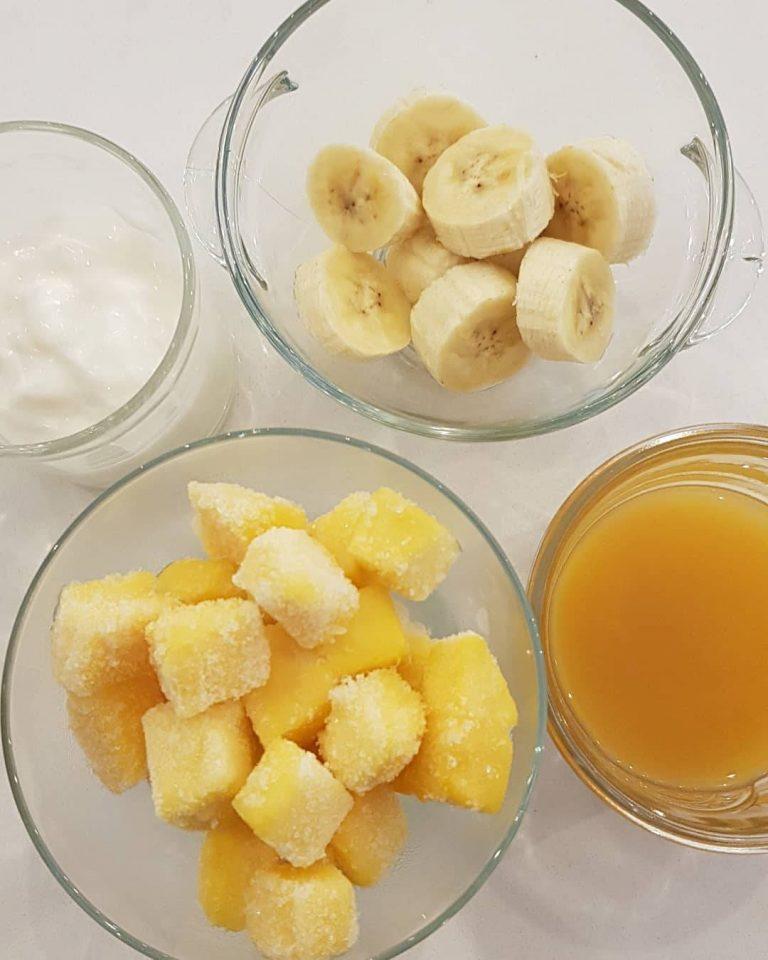 Mango Banana Yogurt Smoothies Frozen Fruit Thailand